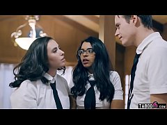 Schoolgirl seduced by these twisted two stepsib...