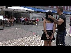 Spanish slut bound paraded in public