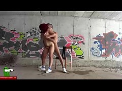 A redhead fucking and sucking in a tunnel. SAN068