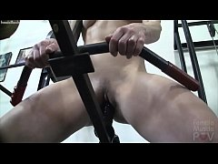 Redhead Female Bodybuilder Masturbates with Gym...