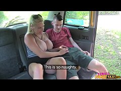 Lucky student fucked by busty blonde MILF  taxi...