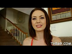 Hungry sweetheart gets her sweet face spewed wi...