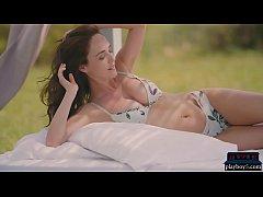 German model babe with big tits stripteasing ou...