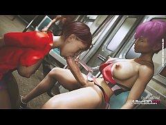 Public futa sex in a train