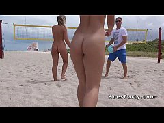 Nude amateur babes partying at beach