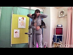 During a workout this Japanese av model finds her tits and pussy fingered and sq