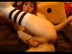 Shemale dildo in ass and cum