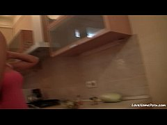 Lesbian hottie eats some pussy in the kitchen