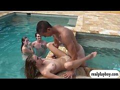 College teens in bikini orgy by the pool