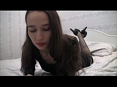 Skinny lass in stockings reveals her shaved hole