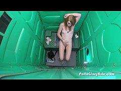 Porta Gloryhole hot redhead sucking cock from randos