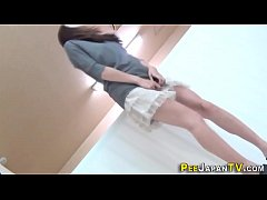 Fetish asian babes pee into glass box