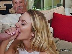 Teen Vixen Molly Mae Blows Well Hung Old Men