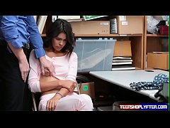 Pierced cutie punished by security guard for st...