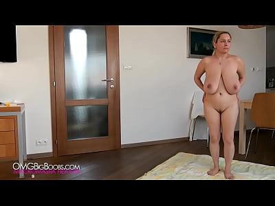 Busty babe doing naked yoga