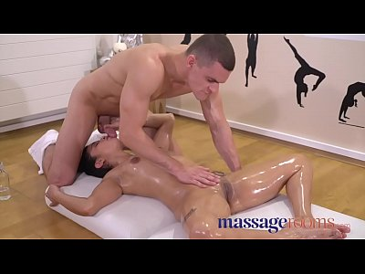 Massage Rooms Oiled and slippery petite Latina chick loves a deep fucking