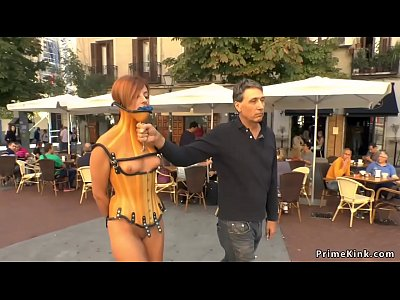 Stunning slave fucked in public bar