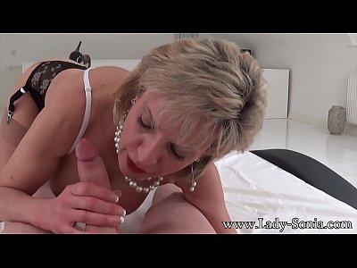 MILF Lady Sonia strip and suck intruders dick