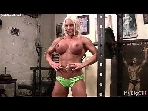 Nude female bodybuilder melissa dettwiller plays with her