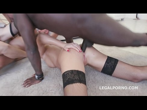 Interracial sluts Belle Clair and Tina Kay get their asses fucked in orgy
