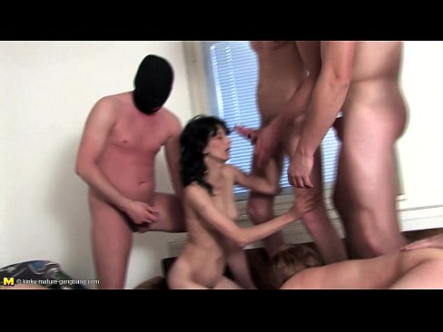 two matures get gangbanged by a bunch of dudes