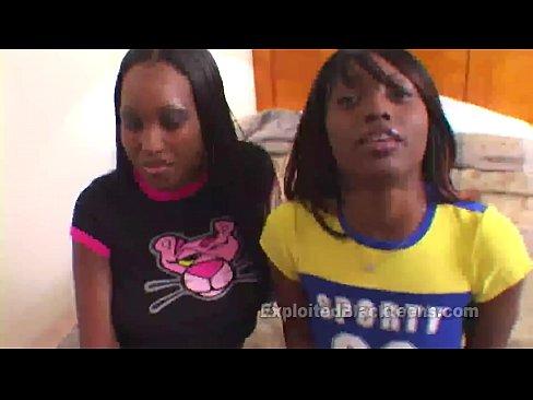Ebony Girls Fuck a White Cock in Threesome Movie
