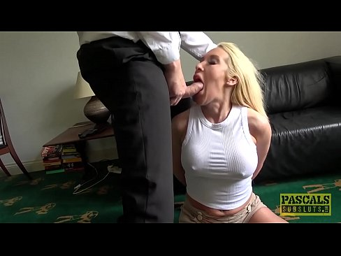 Roughly fucked MILF deepthroats her masters big fat cock