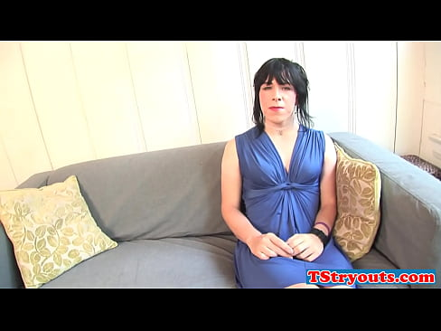 Amateur transexual beauty tugs her cock