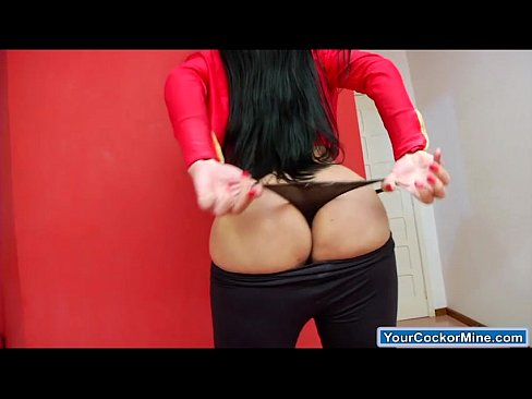 Busty ts Milena Z shows off her curves and jerk off her cock