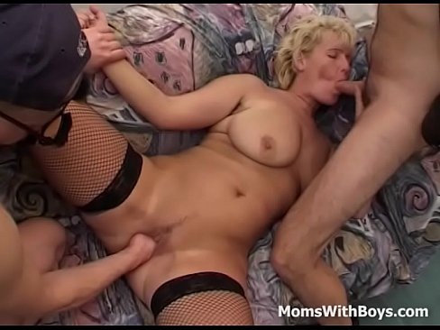 MILF In Horny Fishnets Double Teamed