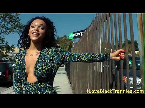 Wanking black tranny strokes her hard cock