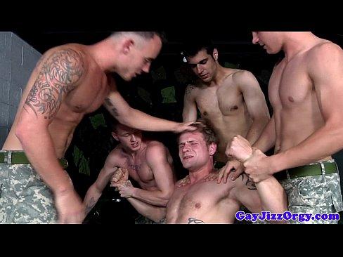 group of militar hunks giving head