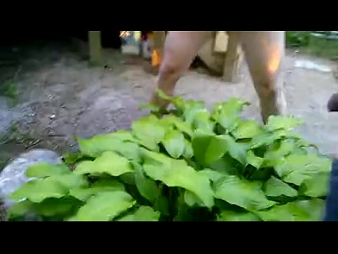 Naked women peeing on a plant