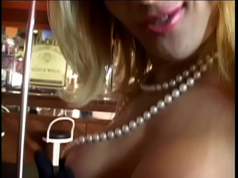 Gorgeous blonde tranny with big melons was drilled in navy style on the bar counter