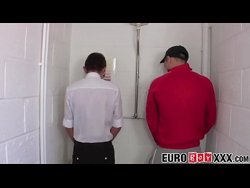 Nerdy twink fucked in public restroom after oral exchange