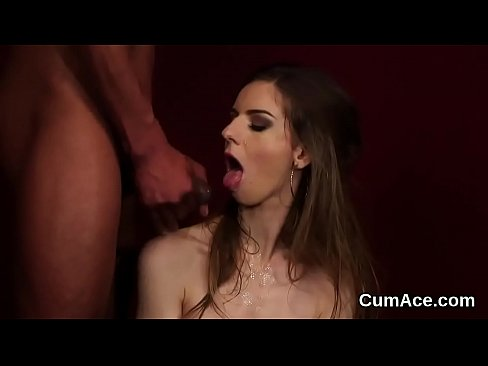 Wicked stunner gets cumshot on her face sucking all the spunk