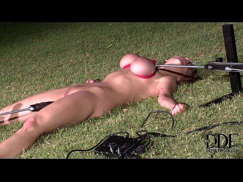 mistress forces the fucking machine on bound blonde babe