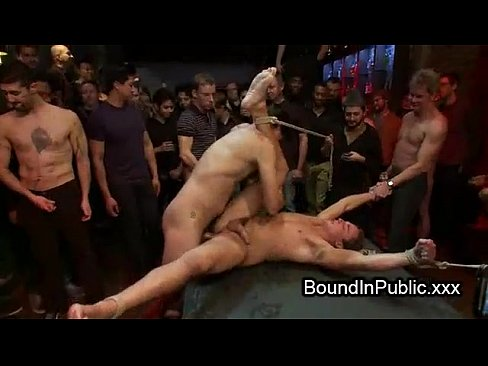 Bound Gay Fucked At A Public Bar Full Of Strangers