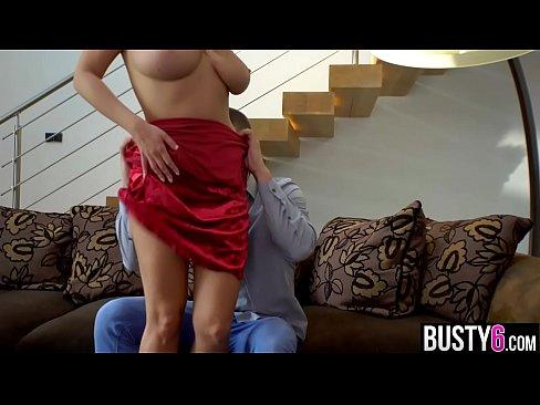 Big natural juggs blonde titty fucking his big dick