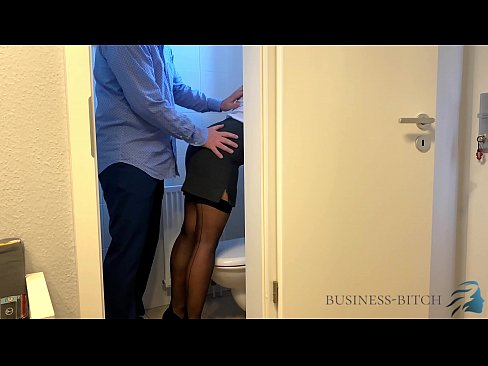 boss meets secretary on the office restroom - business-bitch