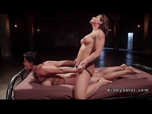 Rough Lesbian Strapon Bondage