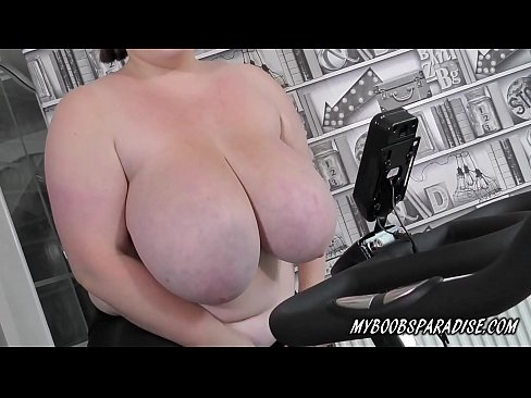 BBW Huge natural Boobs babe exercise on station Bike