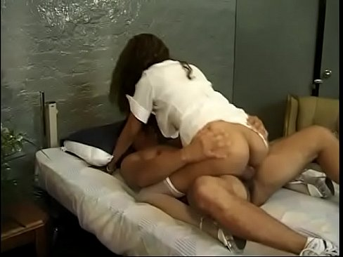 steaming hot nurse in stockings rides patient stud reverse cowgirl