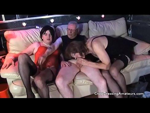 Crossdresser orgie video