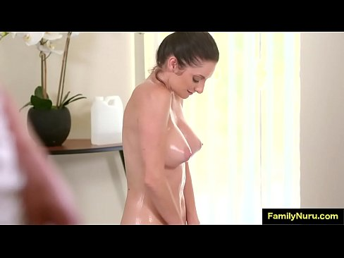 Son get wet oil massage from his milf mommy's Thumb
