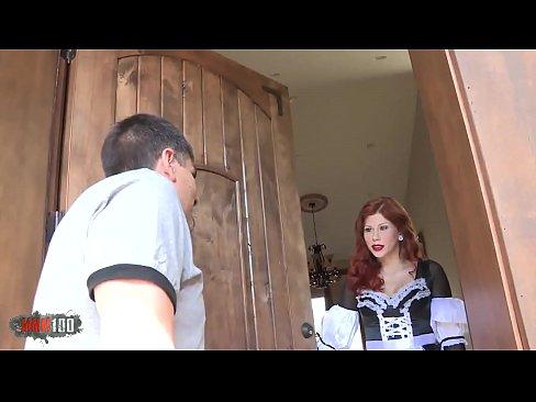 Redhead french maid hardfucked
