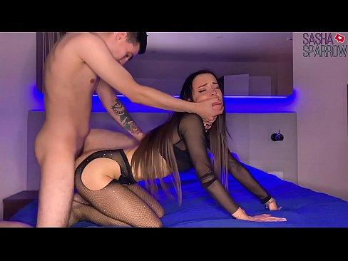 Sexy Girlfriend in Mesh Tight Sensual Sucking Dick and Doggy Fucking