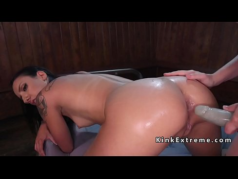Slim brunette ass plugged and fucked