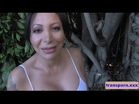 Sexy busty trap tranny jerks off outdoors