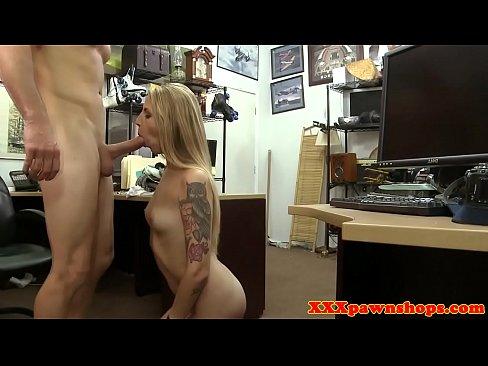 inked pawner babe rides dick and tastes cum